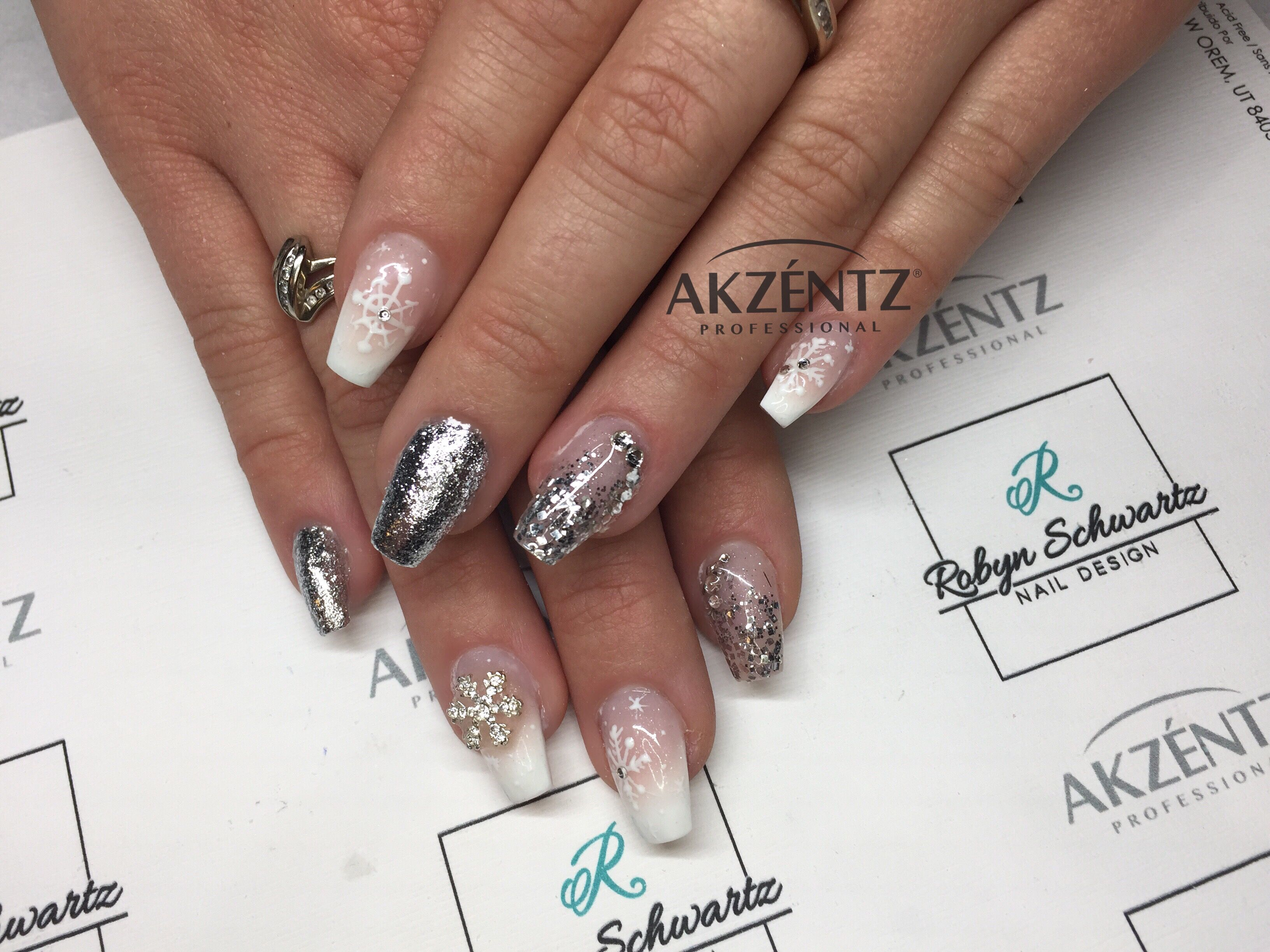 Pretty French ombré coffin gel nails with silver glitters and hand ...