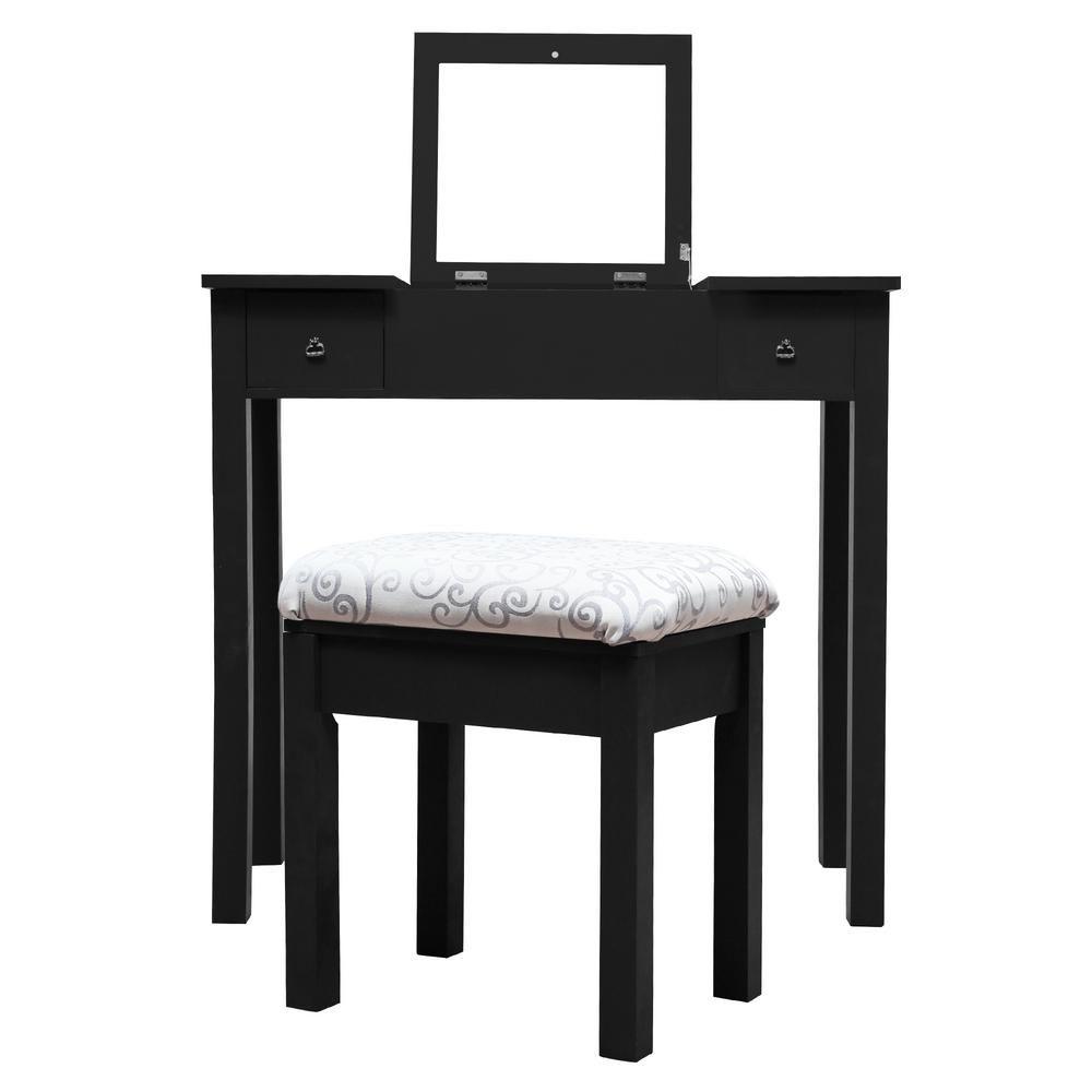 Crawford Burke Beatrice 2 Piece Black Makeup Vanity Table And