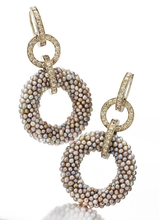 Hemmerle. A Pair of Natural Pearl and Colored Diamond Ear Pendants, by Hemmerle. Available Exclusively at FD Gallery. www.fd-inspired.com.
