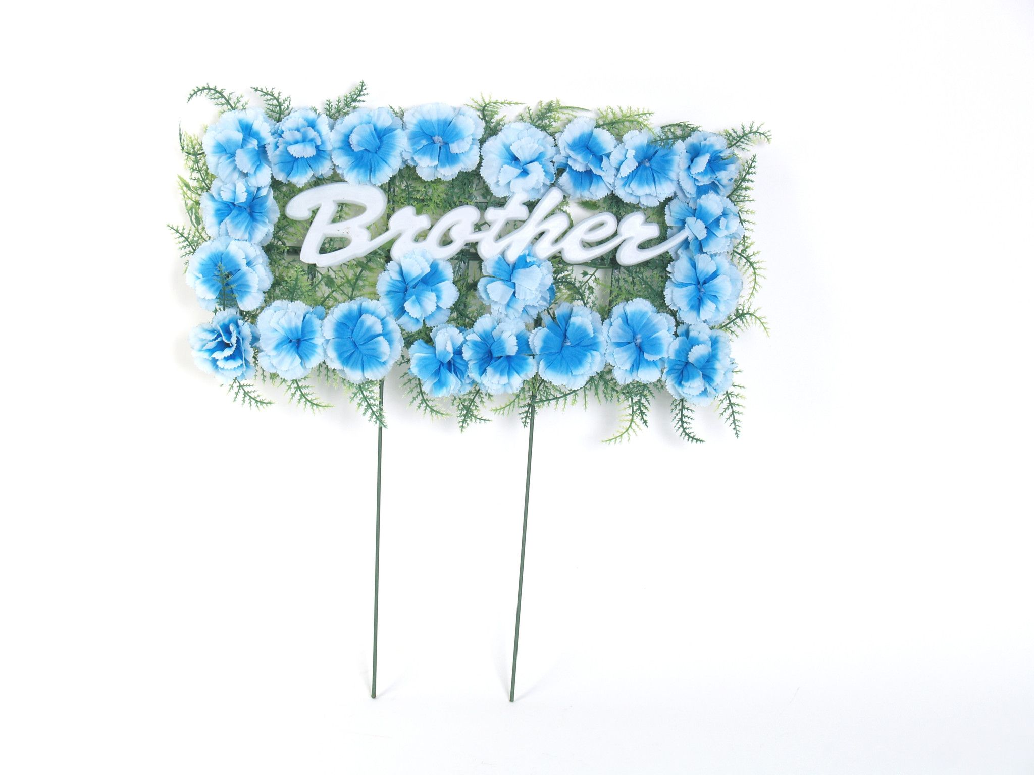 Brother pillow arrangement with blue silk flowers 18 inches brother pillow arrangement with blue silk flowers 18 inches izmirmasajfo Gallery
