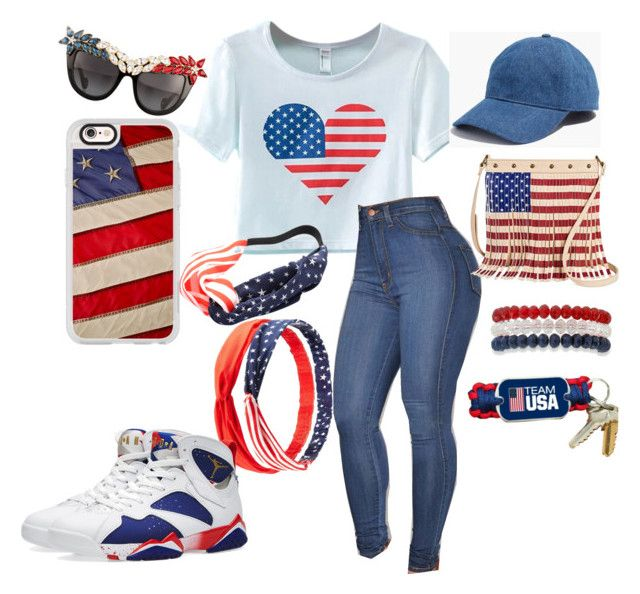 """That USA Spirt"" by angela-a-tripodiseaboldt ❤ liked on Polyvore featuring Chicnova Fashion, Anna-Karin Karlsson, Casetify, Madewell, Charlotte Russe, NIKE, TWIG & ARROW and Kim Rogers"