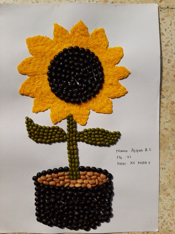 Gambar Biji Bijian : gambar, bijian, Kolase, Bunga, Matahari, Bijian, Crochet, Earrings,, Beras,