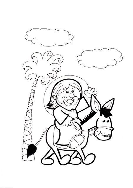 El Rincón de las Melli: DIBUJO: Jesús en burrito (para los más ...