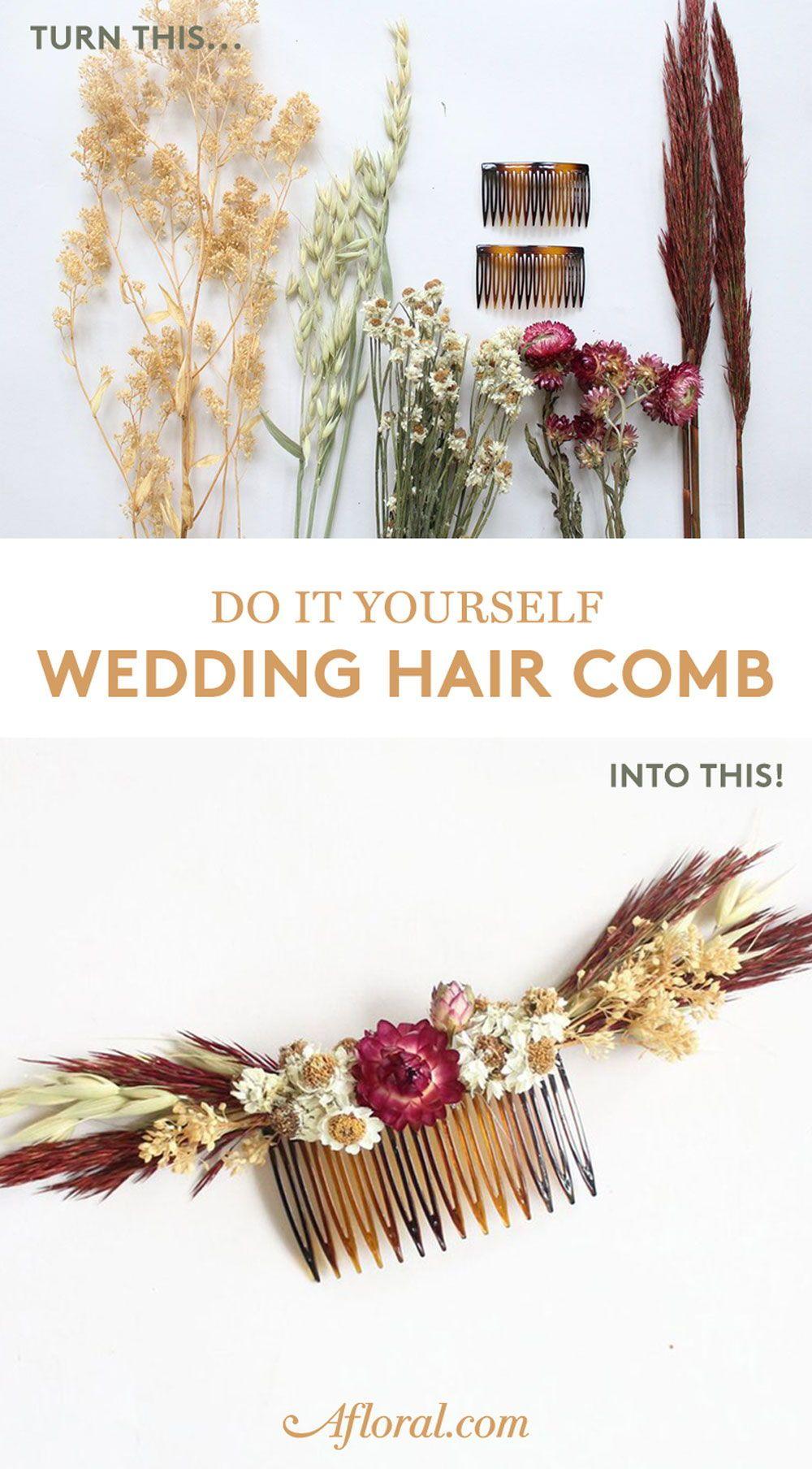 diy wedding hair comb with dried flowers | diy wedding in