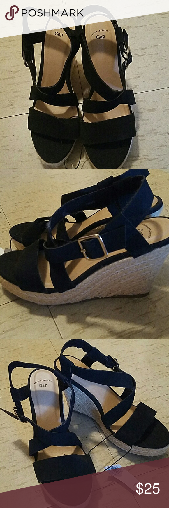 Black sandals gap - Nwt Black Espadrille Sandals Cute Sandals That Are Brand New Black Straps Are Material