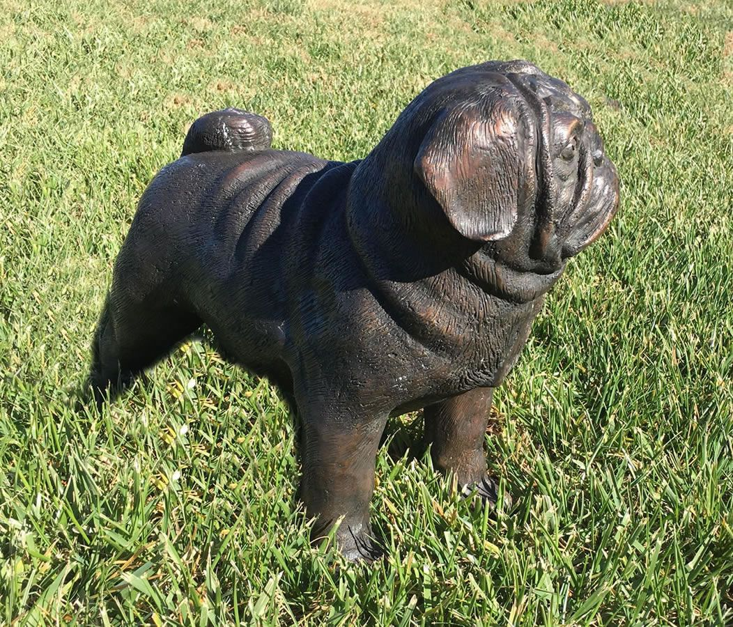 Bronze Pug Dog Garden Statue