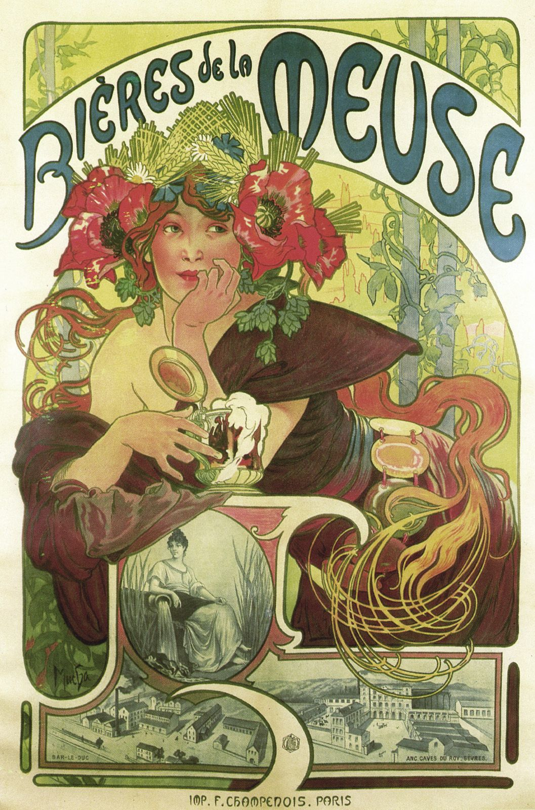 alfons mucha affiche publicitaire bi res de la meuse art nouveau mucha pinterest la. Black Bedroom Furniture Sets. Home Design Ideas