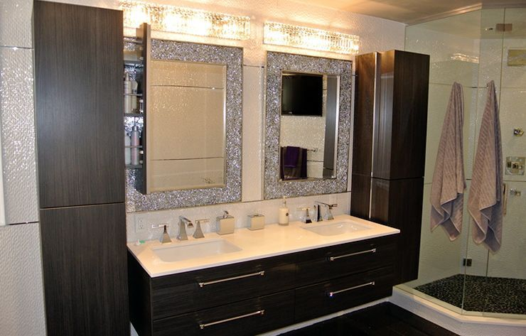 Modern Bathroom Wall Hung Double Sink Vanity With Linen