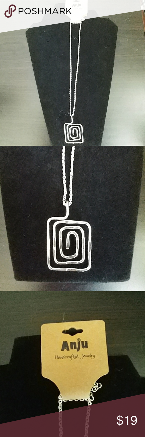NWT Anju Handcrafted Jewelry square pendant NEW WITH