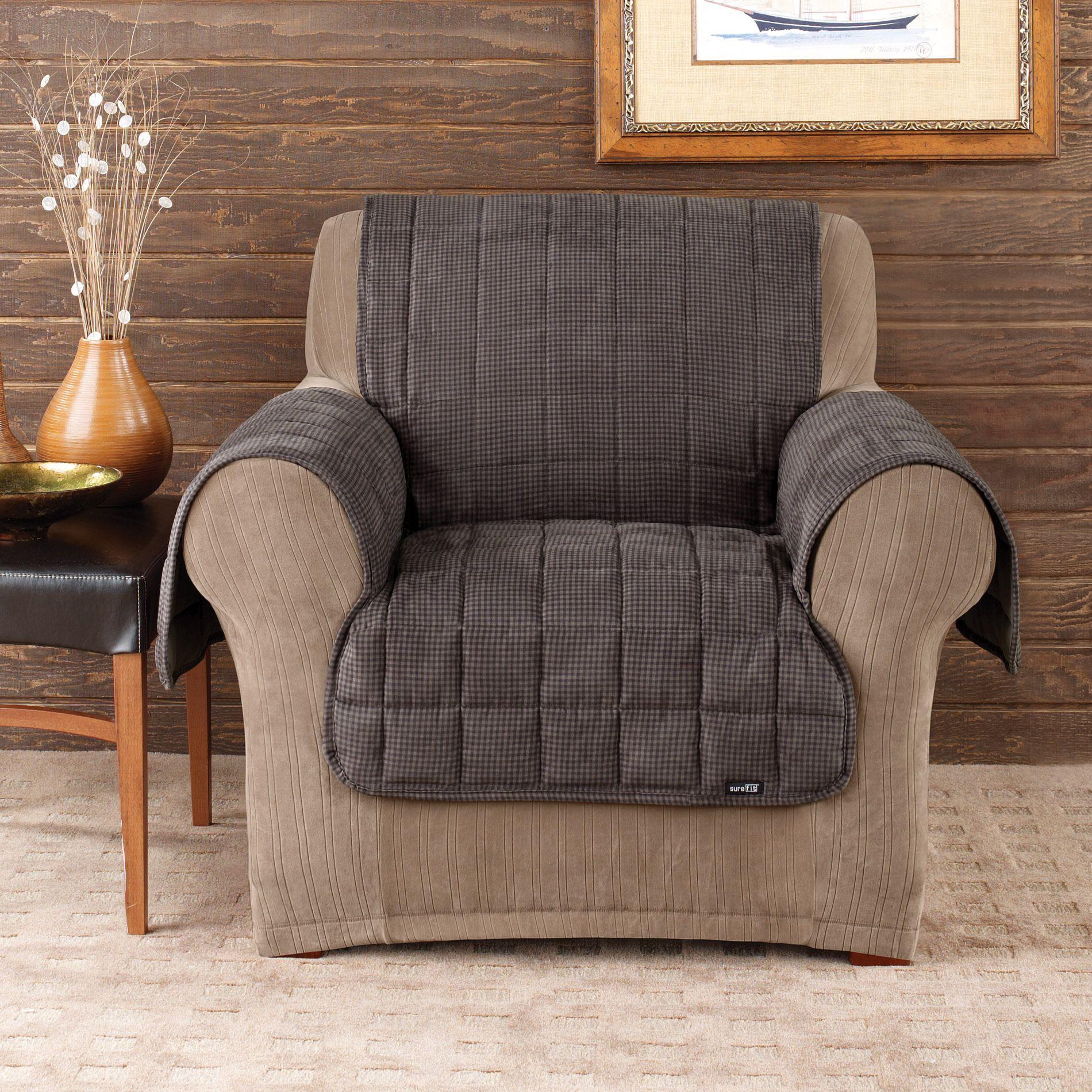 Sure Fit Deluxe Pet Mini Check Chair Cover Mini Check Blue wash