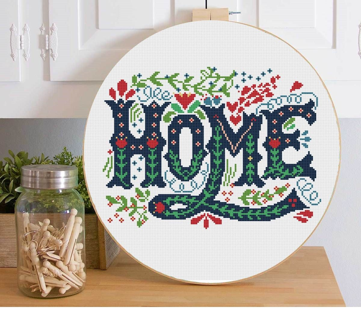 Cross stitch pattern modern home sweet home quote welcome embroidery