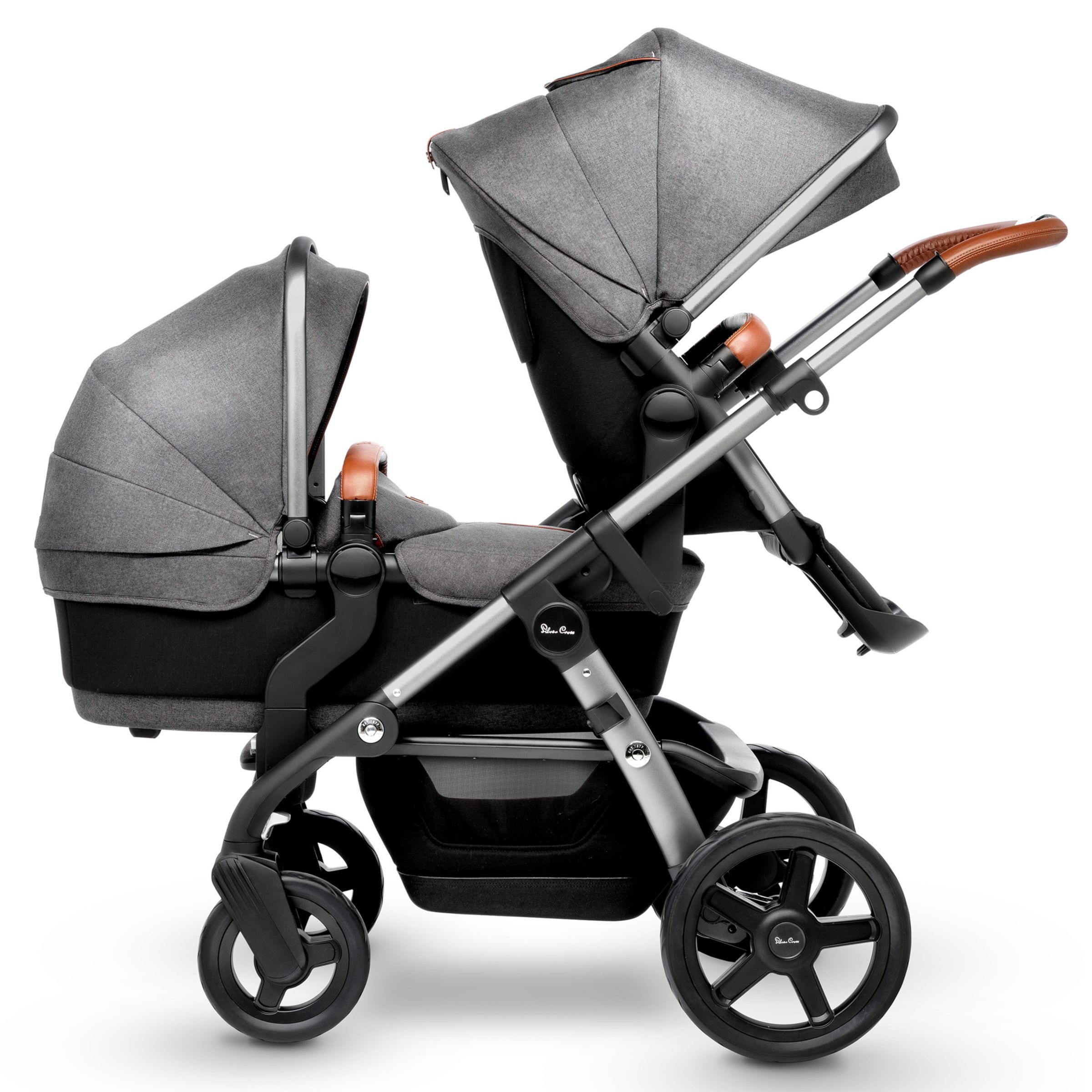 Silver Cross Wave Pushchair and Carrycot, Granite Double
