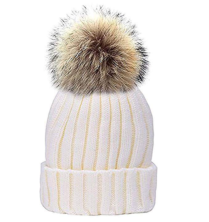 2747ba473eced GuoMan Womens Girls Winter Fur Hat Real Large Raccoon Fur Pom Pom Beanie  Winter Hats Review
