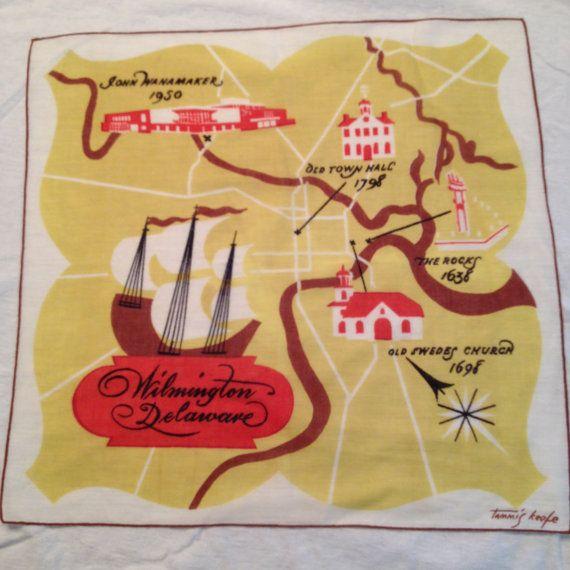 Unique Tammis Keefe Wilmington DE Vintage Hankerchief