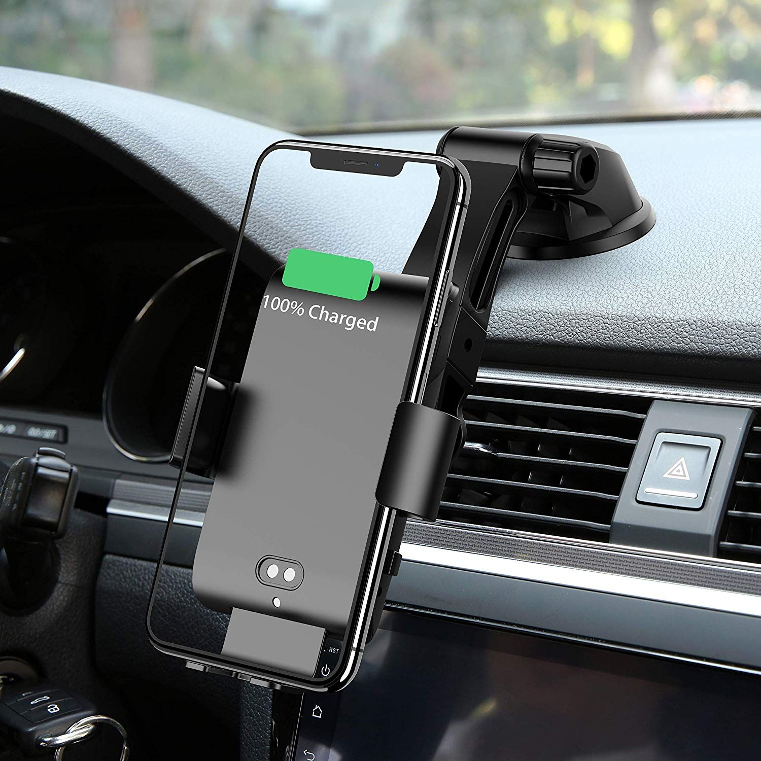 Wireless Car Charger Automatically Clamps Monooy 10w Qi Fast Charging Car Charger Bracket Com In 2020 Charger Car Charging Car Car Phone Holder