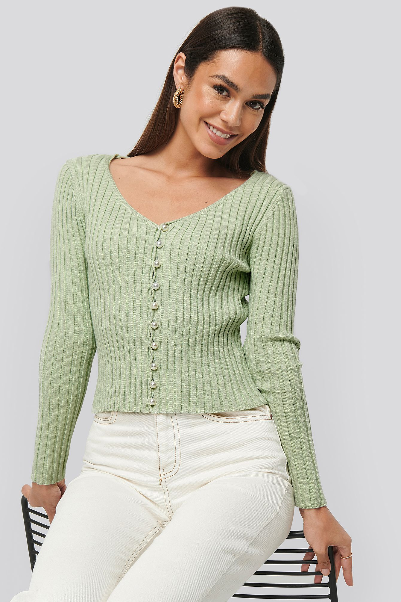 Na kd Pearl Detailed Knitted Cardigan Green In Dusty Light