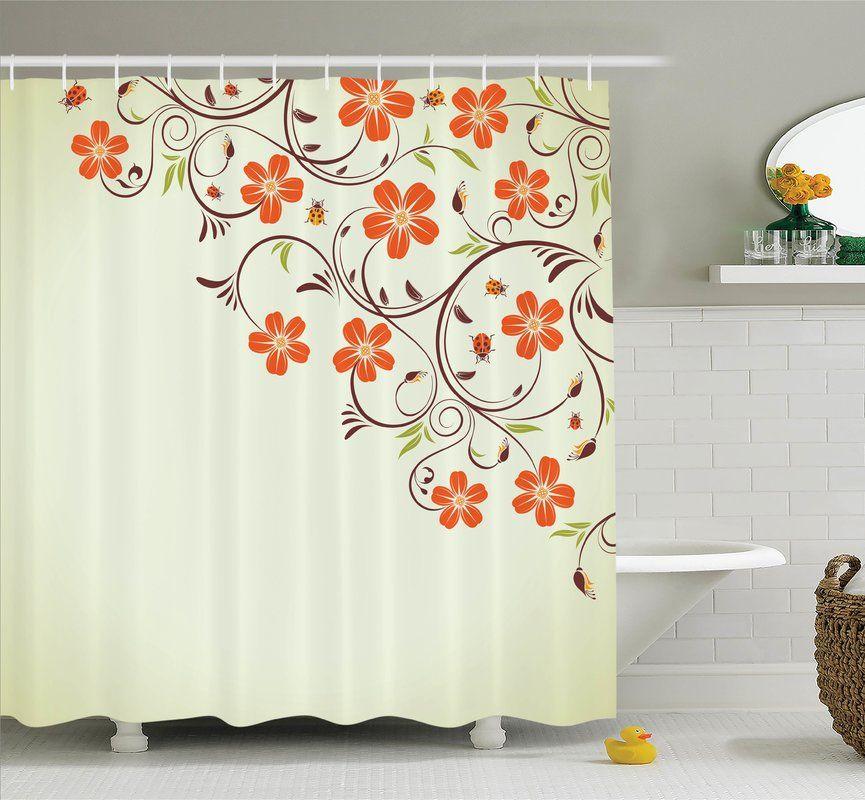 Floral Ladybugs Flowers Spring Shower Curtain Set