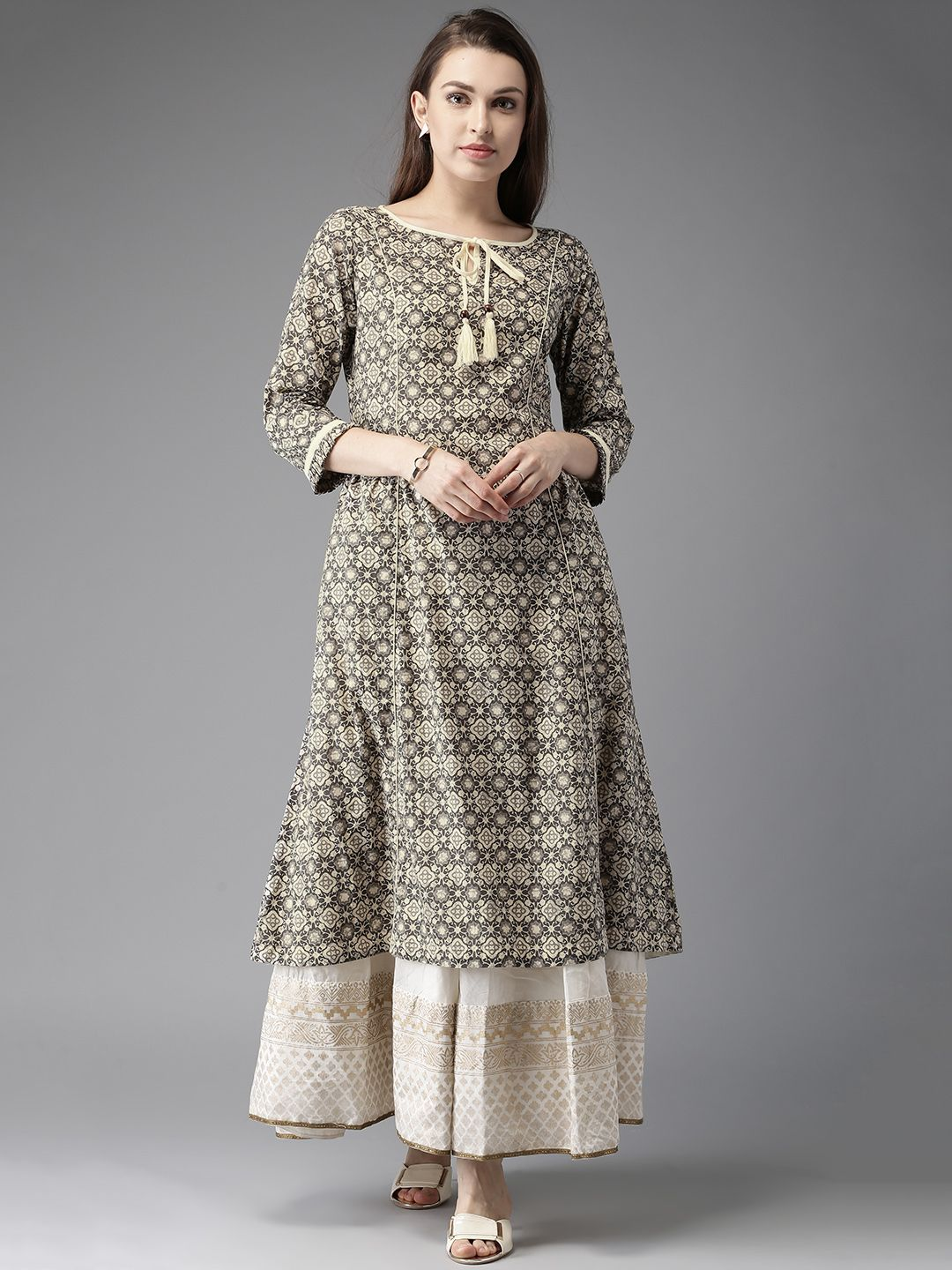 989a90c111 Buy Moda Rapido Grey & Cream-Coloured Printed A-Line Kurta online in India  at best price.Grey and cream -coloured printed A-line kurta , has a keyhole  neck, ...