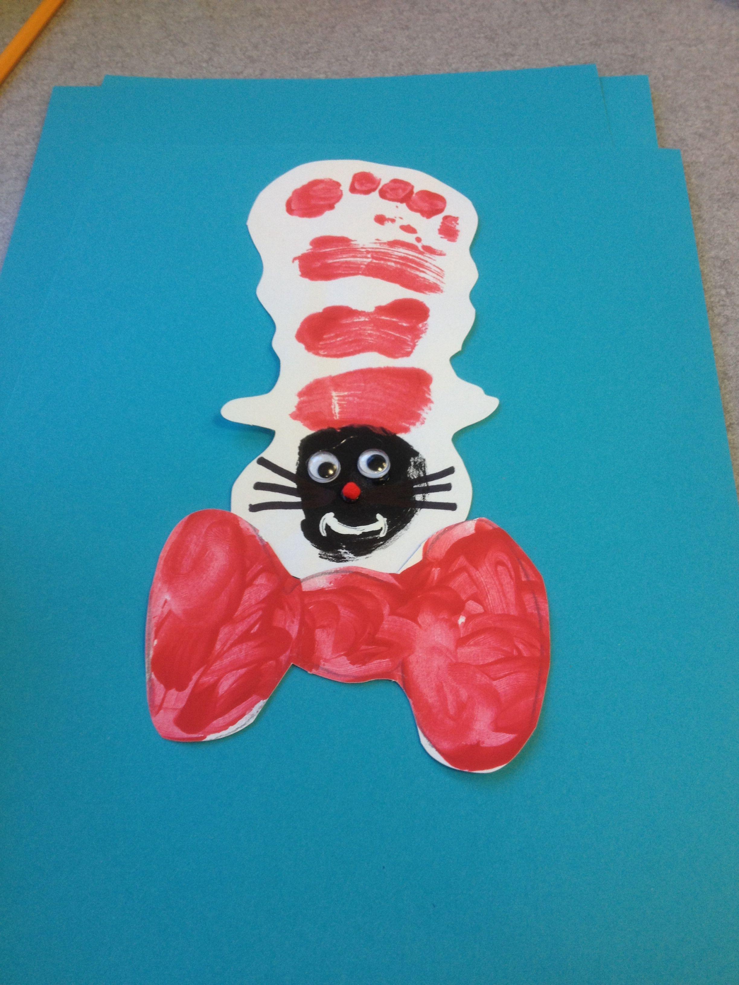 Art Ideas Kids Cat And The Hat Footprint