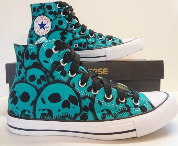 fafd9bb22843fc Converse Skull shoes US Womens Size 10.5 - US Mens Size 8.5 Custom skull  shoes hand painted by RokG