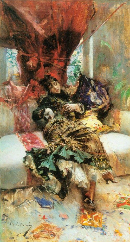 'L'Attesa' (1878). Giovanni Boldini (Italian painter 1842-1931)