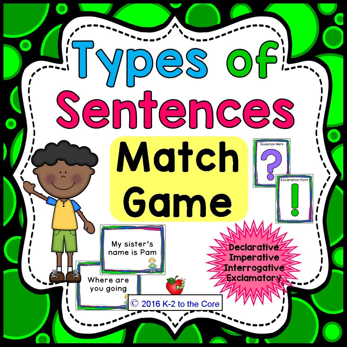 Types Of Sentences Amp Punctuation Match Game