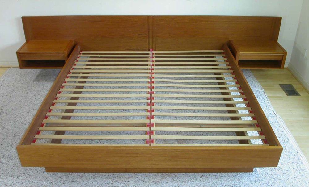 Best Danish Modern King Size Platform Bed With Attached Floatin 400 x 300