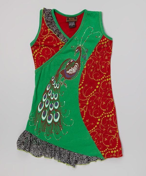 Loving this Green & Red Peacock Surplice Dress - Girls on #zulily! #zulilyfinds