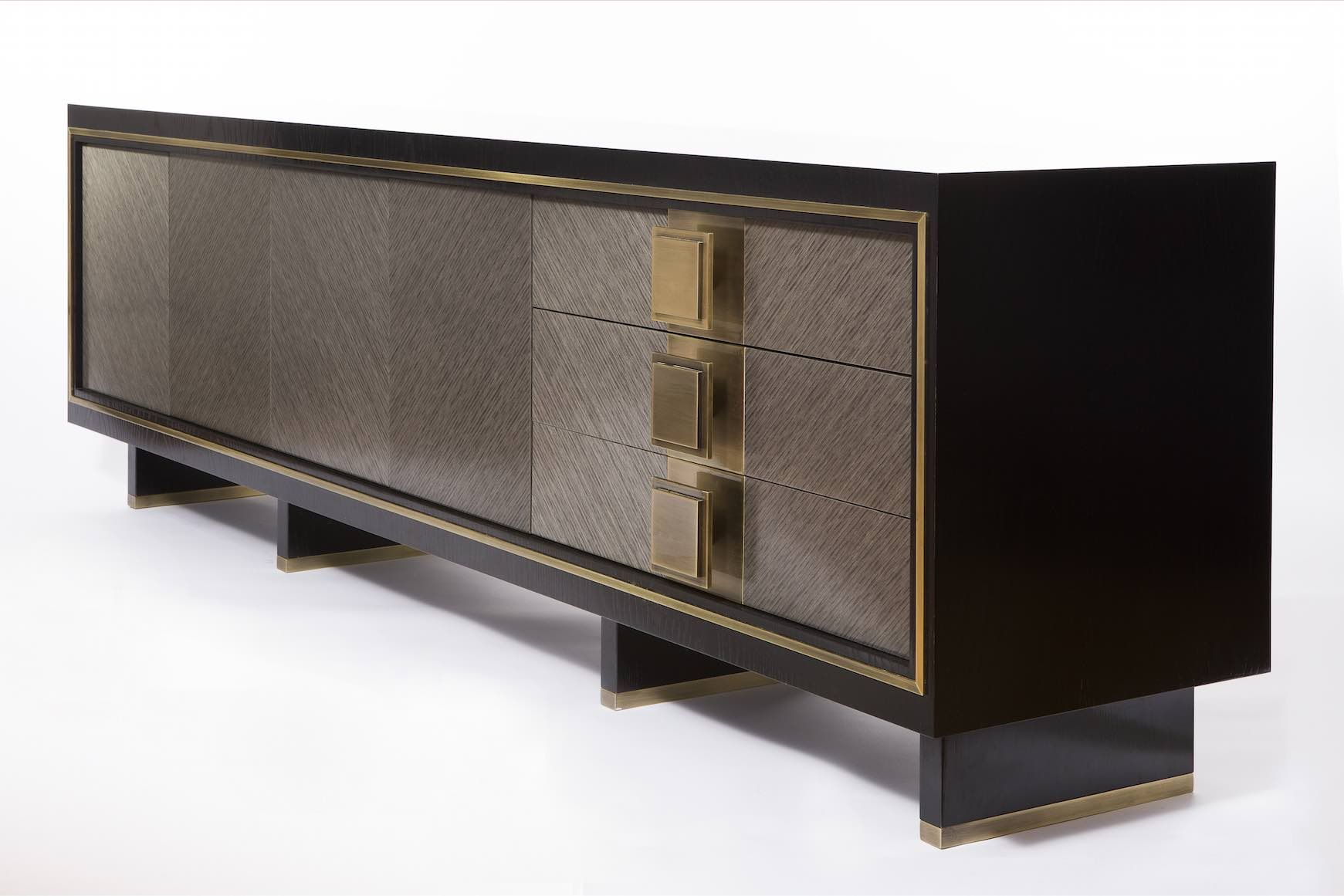Luxury sideboard. Grey and dark sideboard. Golden details