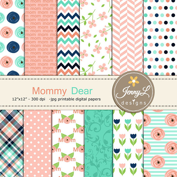 Mothers day digital paper flower floral scrapbooking papers mom mothers day digital paper flower floral scrapbooking papers mom mother mommy mum tulip peach navy planner invitation card mightylinksfo