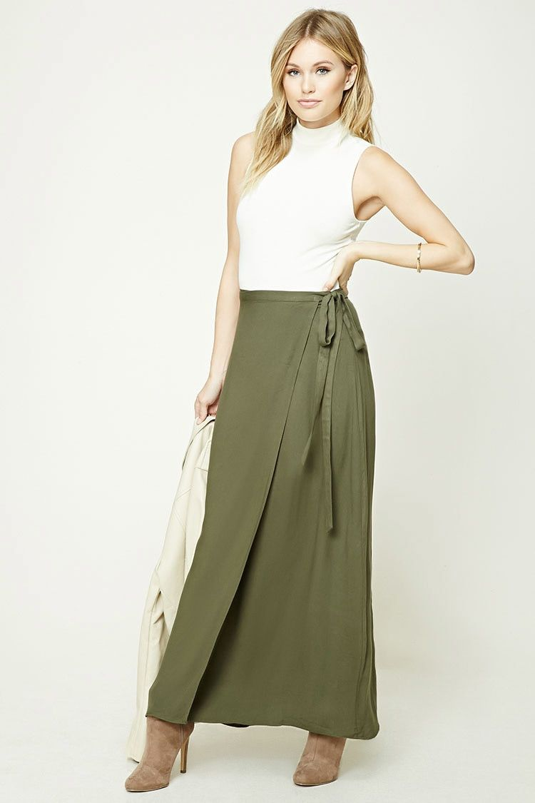 a268155039 Forever 21 Contemporary - A woven maxi skirt featuring a wrap design and a  self-tie belt.