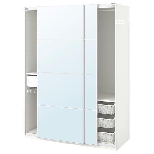 PAX Wardrobe white, Auli mirror glass 59x17 3/8x79 1/4