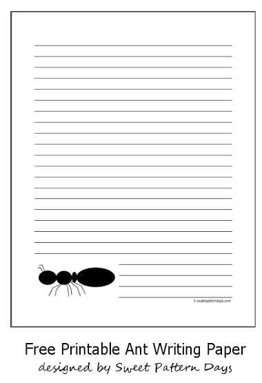 Printable Black Ant Writing Paper  Stationery Printables