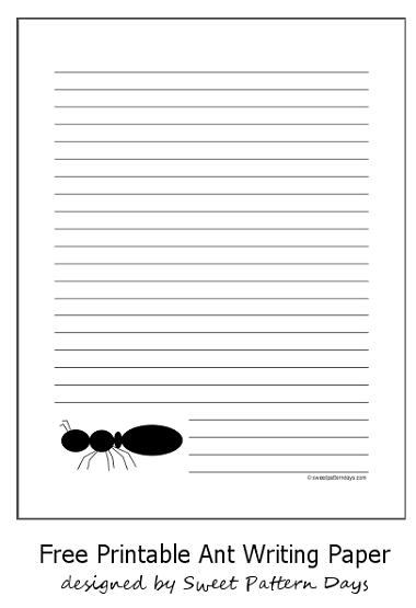 Printable Black Ant Writing Paper  Stationery Printables