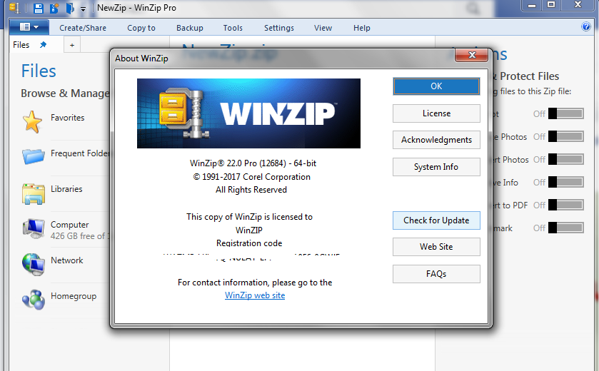 winzip registered to and registration activation code