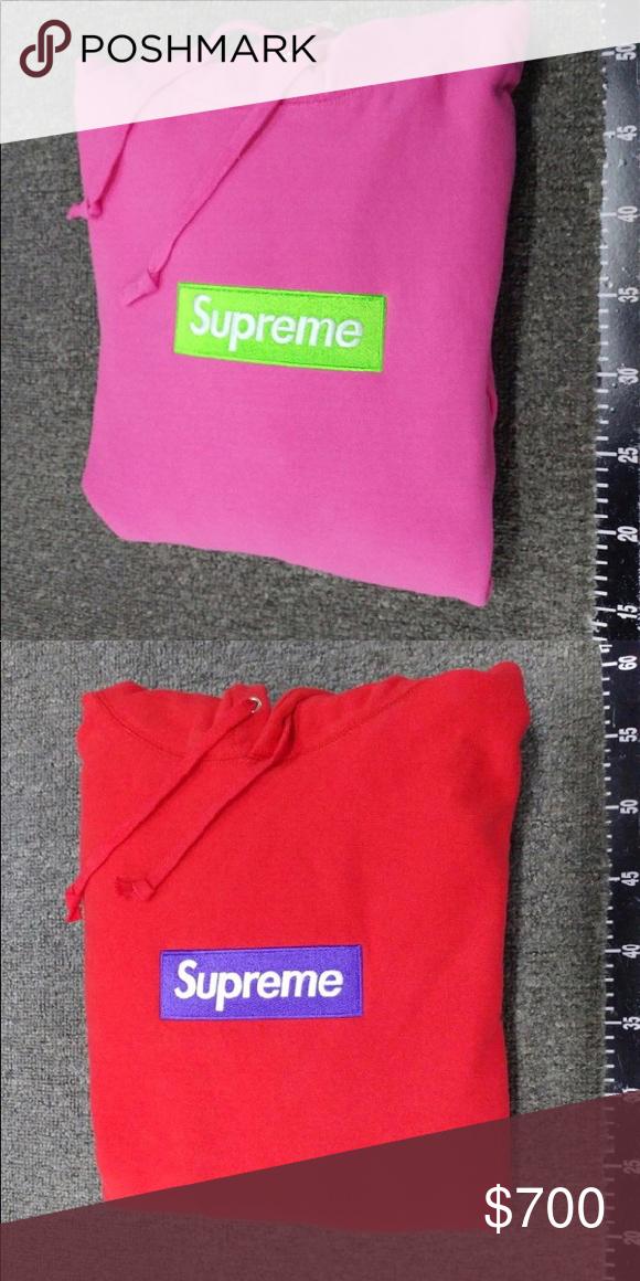 1a5f3be35563 FW17 Supreme Box Logo Hoodies ** PAYMENTS THRU 🅿️AYPAL ONLY ** Red w/  purple box size large Pink w/ green box size medium Both worn 1x Need gone  hmu Price ...