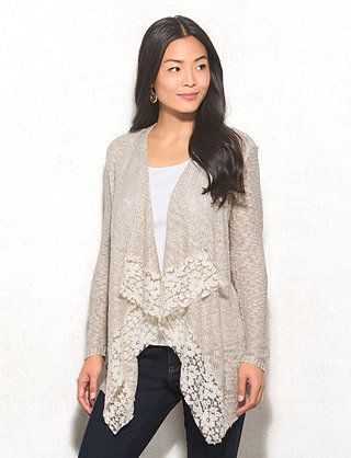Lace Trim Cardigan Sweater | Clothes {Fall/Winter} | Pinterest ...