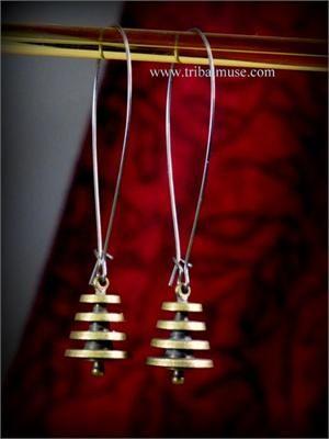 Unique Long Ethnic Brass Earrings