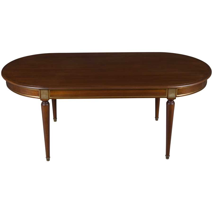Mahogany Dining Table Round To Oval With 2 Leaves 6 Legs Vintage
