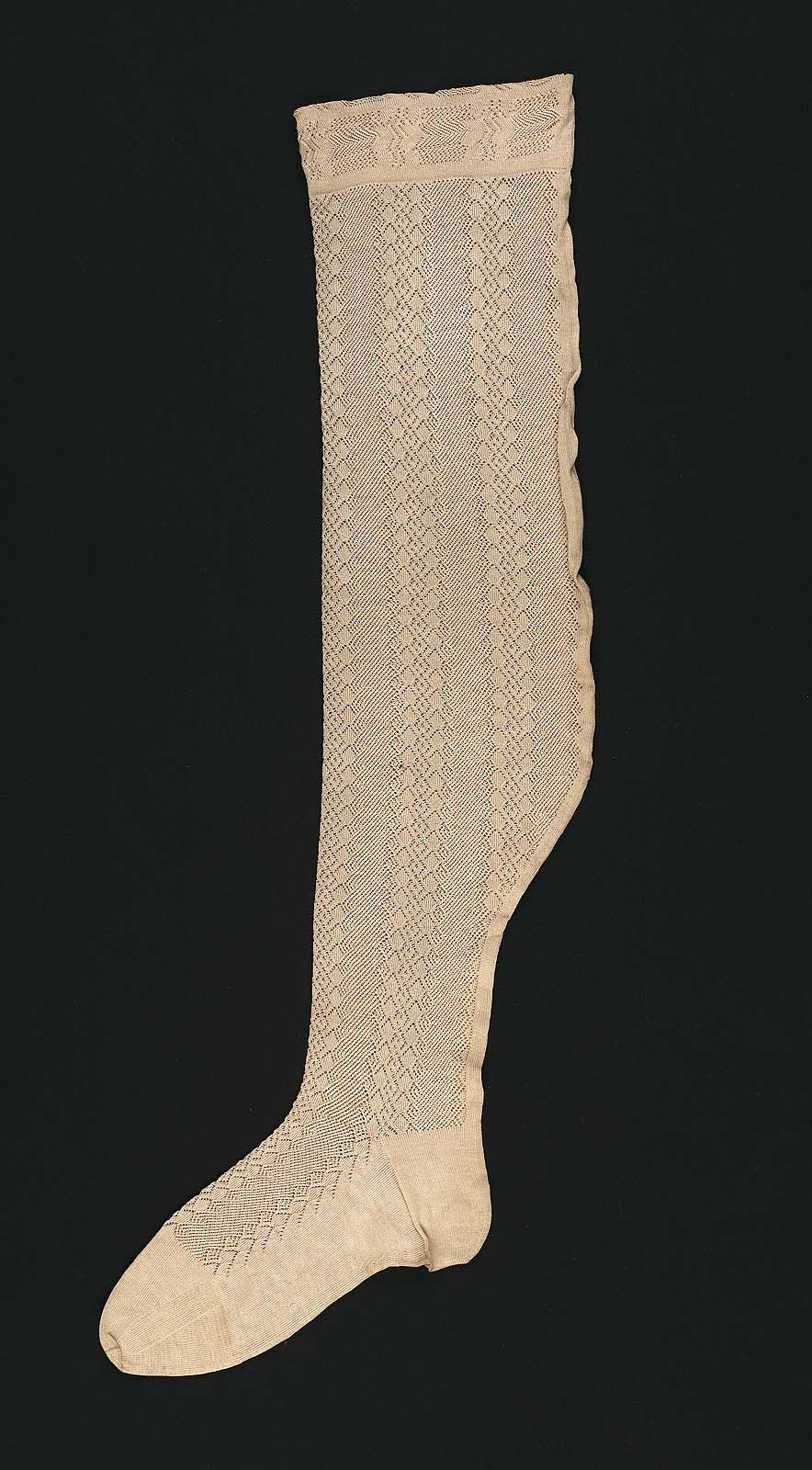 19e03591b Woman s openwork stocking. Knitted white lisle (cotton) with alternating  vertical openwork bands of diamonds and zig-zags. MFA Boston Accession    69.700