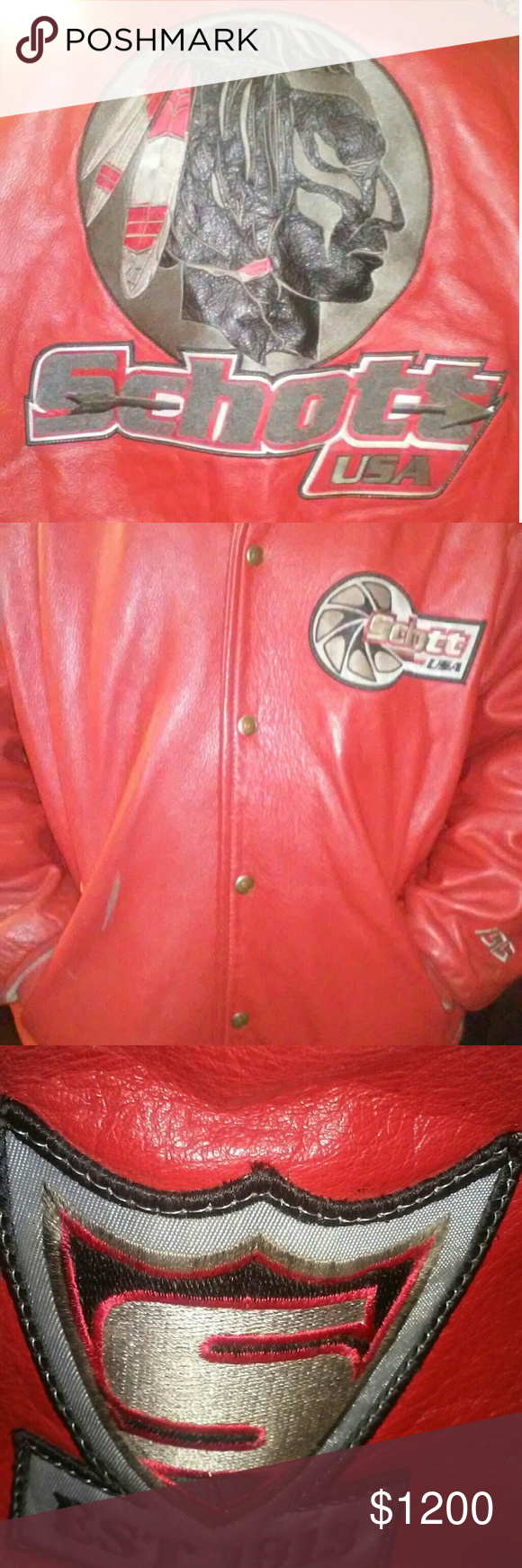Vintage Schott Leather Jacket This Is 4x From 90 S Fantatic Condition Just Pulled From Storage No Rips Or Worn Out Le Leather Jacket Jackets Red Leather Jacket [ 1740 x 580 Pixel ]