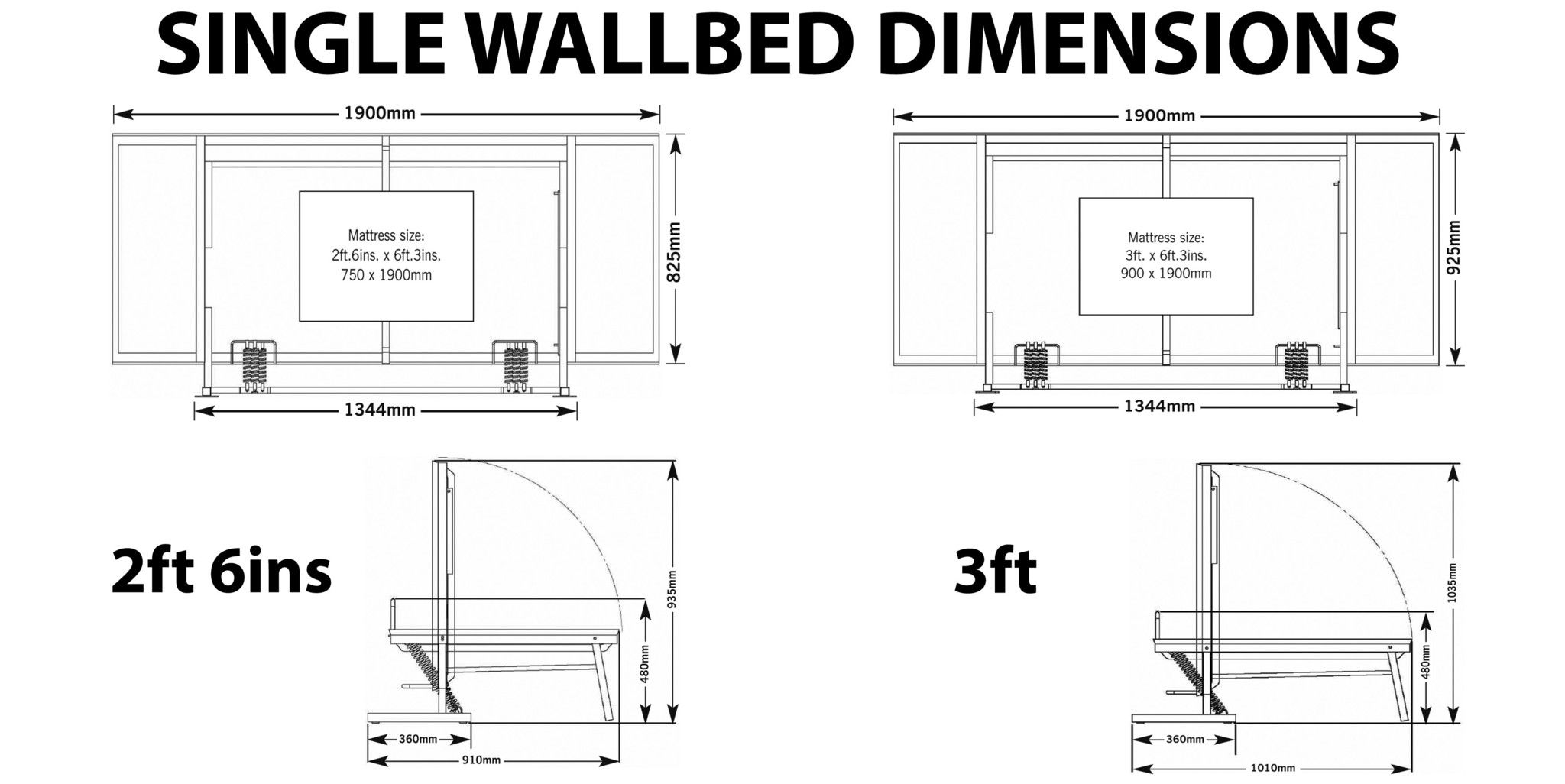 Wall bed WISKAWAY® Horizontal *FRAME ONLY Murphy bed