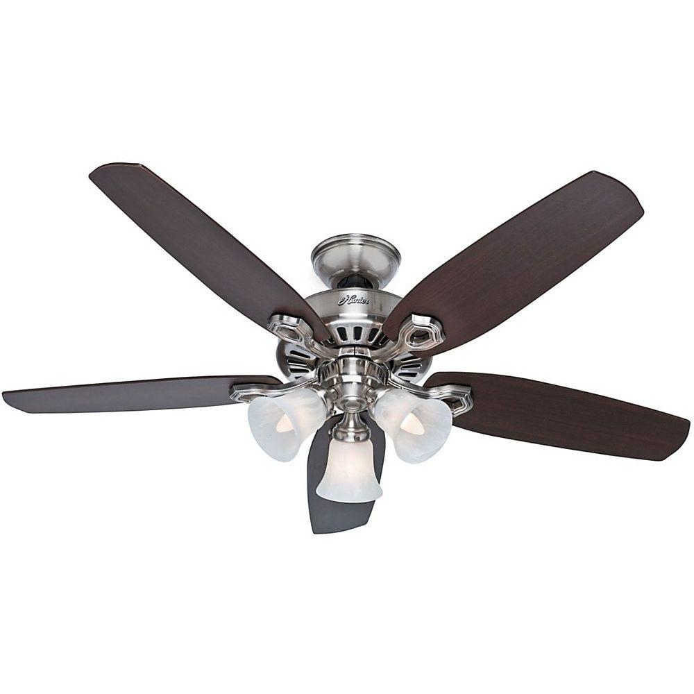 hunter fan 52 builder plus 5 blades diameter 3 speed quiet ceiling brushed nickel inch lutron control homekit