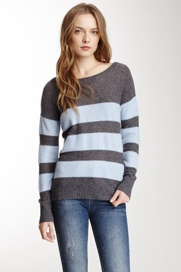 Cashmere Striped Hi-Lo Sweater on HauteLook