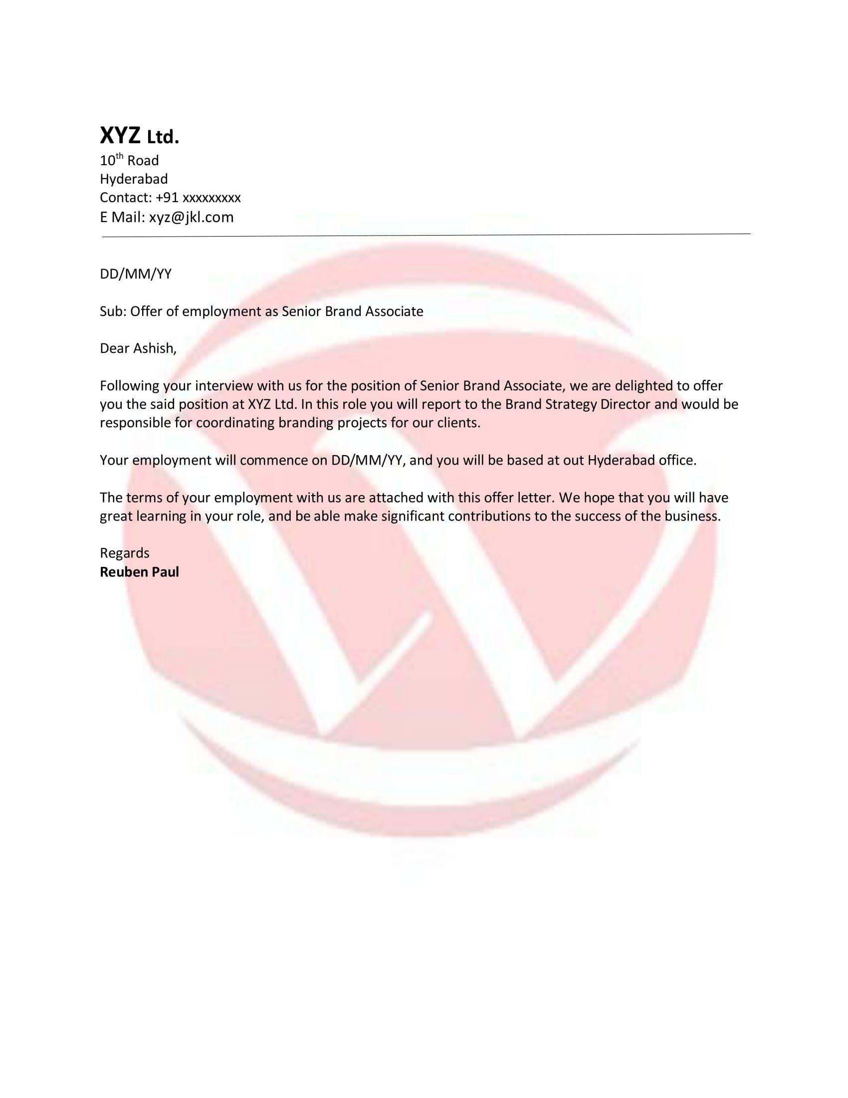 Doc Offer Letter Template Free Word Pdf Sample Format Download