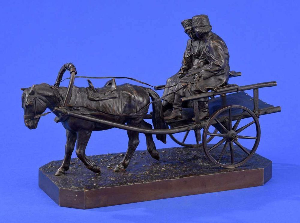 Wolf, Albert Moritz   1854 Berlin - 1923 Lüneburg Pferdekutsche mit russischem Paar. Bronze. Signie — Skulpturen, Plastiken, Installationen, Bronzen, Relief