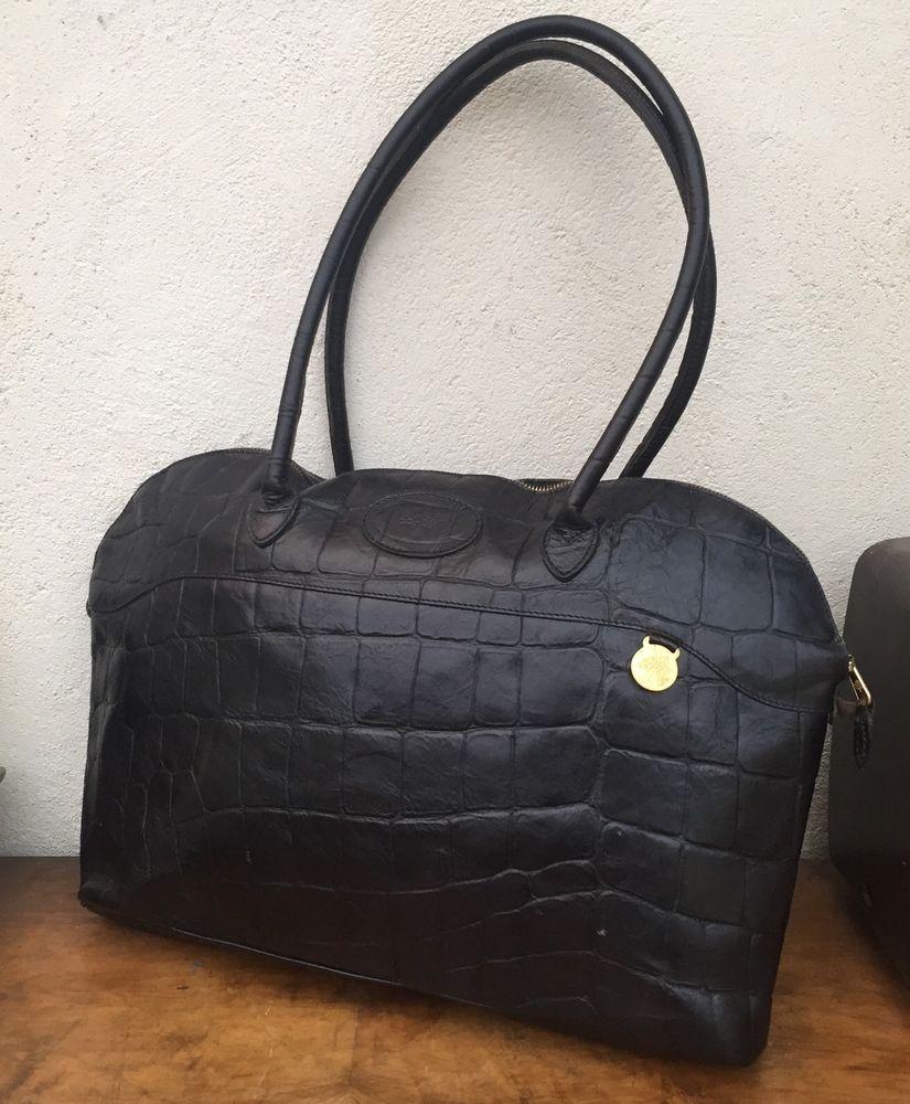f2d582ffee MULBERRY real leather BRETON shoulder bag large CONGO vintage BLACK  FREE  P P