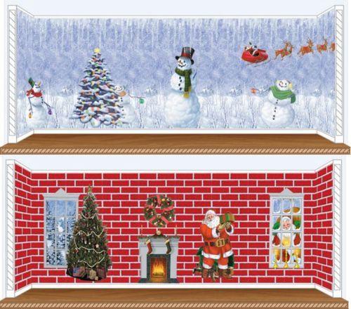 Christmas Scene Setters Trees Santa Snowmen Fireplace