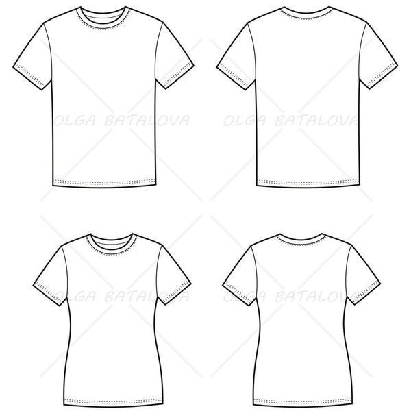 Women\'s and Men\'s T-Shirt Fashion Flat Templates | Technische ...