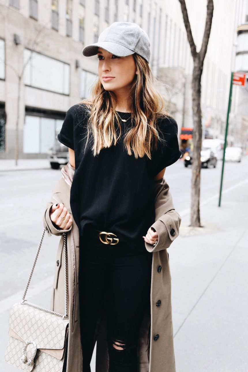All Black Distressed Denim Gucci Belt Gucci Monogram Purse Baseball Cap | Fashion ...